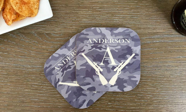 Personalized Hunting Coasters - Set of 2 - Qualtry Personalized Gifts