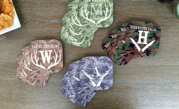Personalized Hunting Coasters - Set of 4 - Qualtry