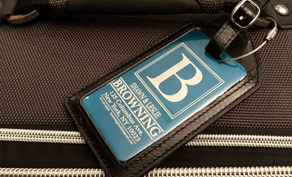 Personalized Aluminum Luggage Tags with Genuine Leather Casing - Qualtry Personalized Gifts