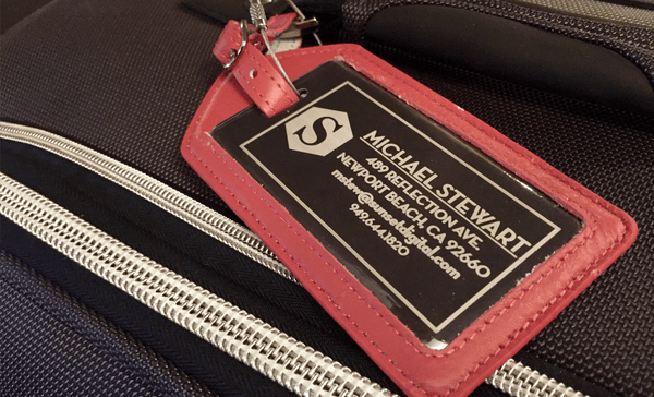 Personalized Aluminum Luggage Tags with Genuine Leather Casing - Qualtry
