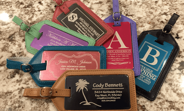 Personalized Aluminum Luggage Tags with Genuine Leather Casing