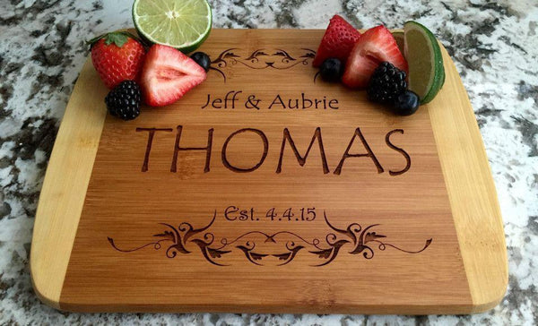 Personalized Cutting Board 8.5x11 (Rounded Edge) Bamboo – 12 Designs - Qualtry