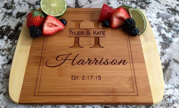 Personalized Cutting Board 8.5x11 (Rounded Edge) Bamboo – 12 Designs - Qualtry Personalized Gifts