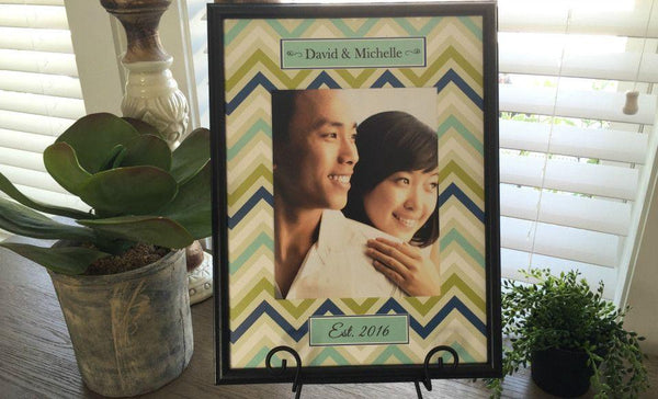 Personalized Designer Photo Frames - Chevron Style - Qualtry Personalized Gifts