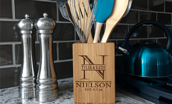 Personalized Bamboo Kitchen Utensil Holder - Qualtry Personalized Gifts