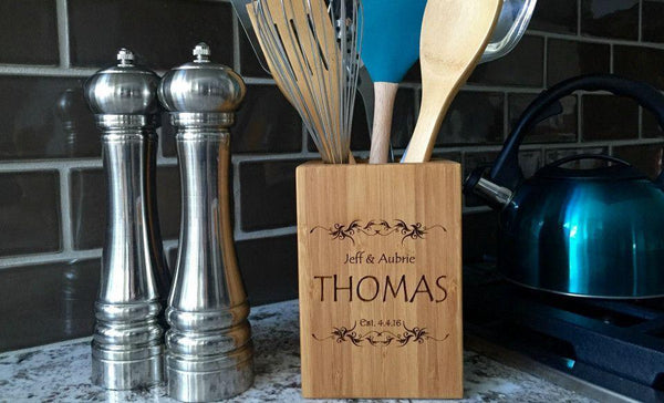 Personalized Bamboo Kitchen Utensil Holder - FREE Spoon & Fork