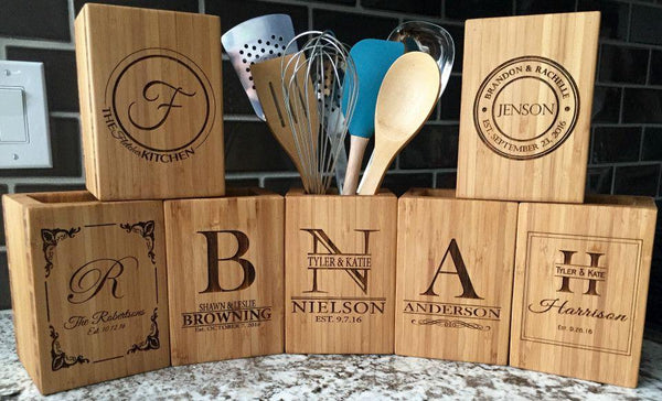 Personalized Bamboo Kitchen Utensil Holder - Qualtry