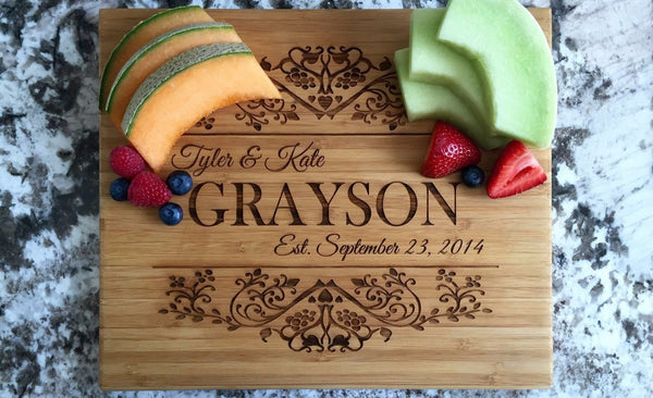 Personalized Cutting Board 11x13 Bamboo - 11 Designs! - Qualtry Personalized Gifts