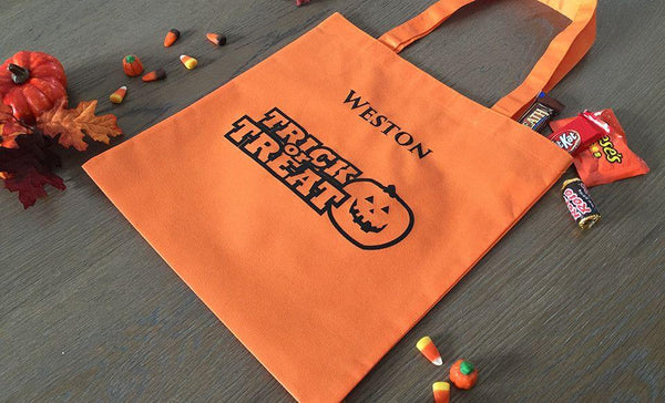 Personalized Halloween Trick or Treat Embroidered Bags