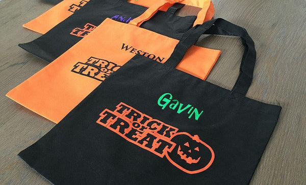 Customized Halloween Trick or Treat Embroidered Bags