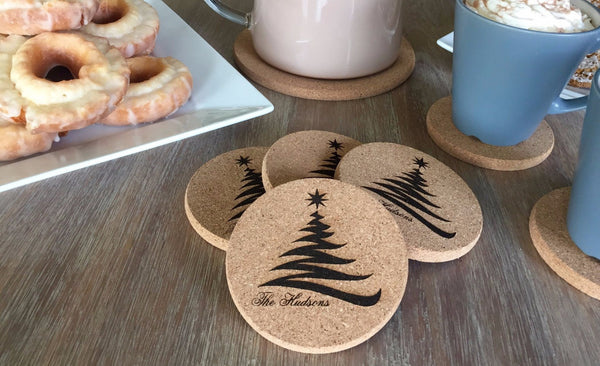 Personalized Thick Cork Holiday Coasters – Set of 4! – 2 Designs!