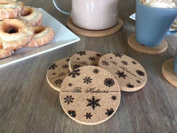 Personalized Thick Cork Coasters – Set of 4! – 6 Amazing Designs! - Qualtry Personalized Gifts