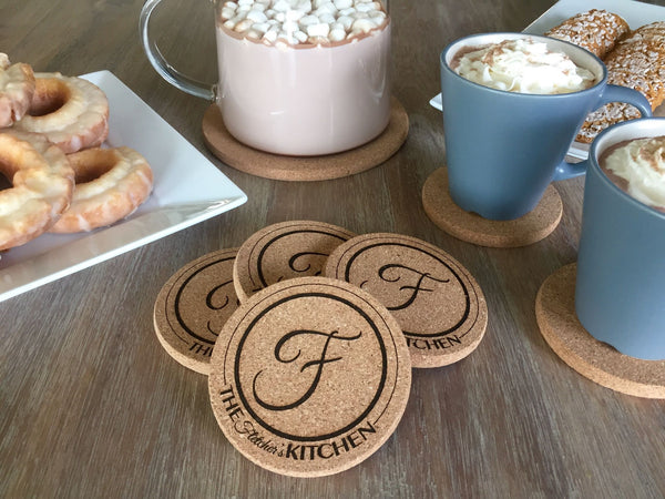 Personalized Thick Cork Coasters – Set of 4! – 6 Amazing Designs!