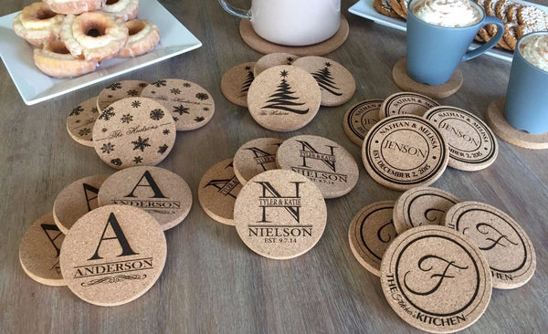 Personalized Thick Cork Coasters - 1 Coaster - 6 Amazing Designs!