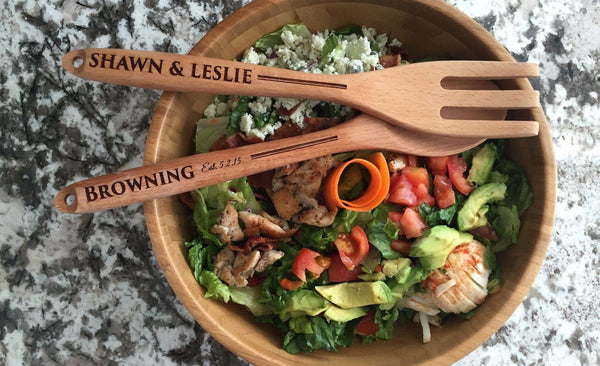 Personalized Decorative Wooden Spoon and Fork Set - Qualtry Personalized Gifts
