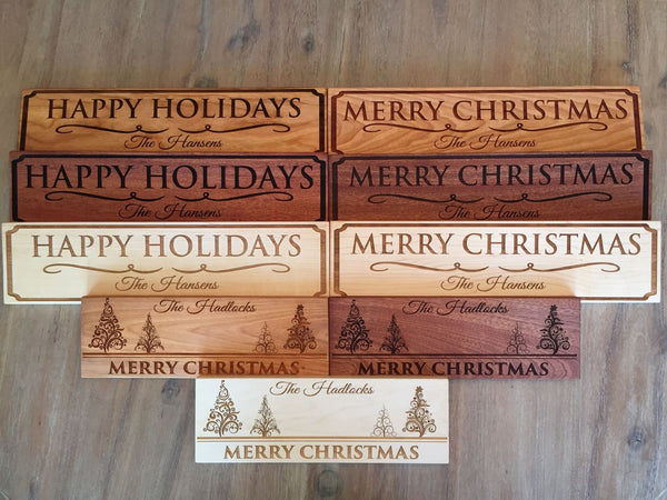 Personalized Christmas Signs – 3 Wood Choices, 3 Designs! - Qualtry Personalized Gifts