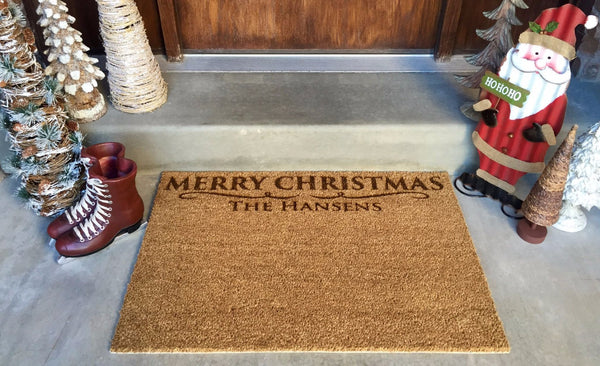 Personalized Christmas Door Mats – 2 Shapes, 2 Designs! - Qualtry Personalized Gifts