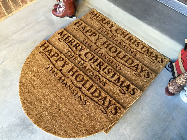 Personalized Christmas Doormats – 2 Shapes, 2 Designs!