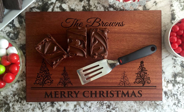 Corporate Holiday Collection - 10x15 Christmas Mahogany Cutting Boards