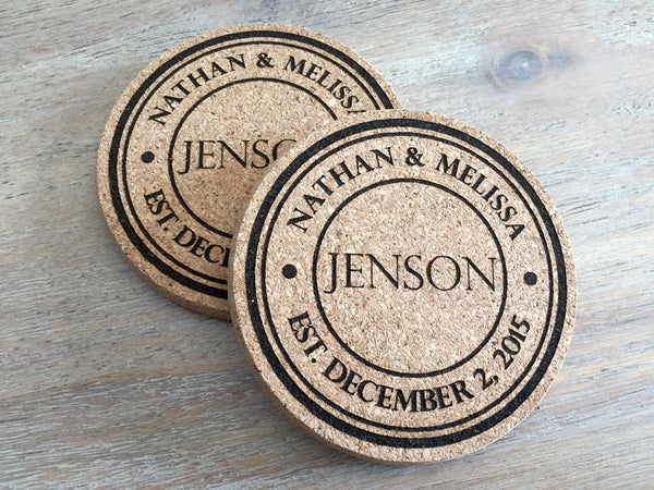 Personalized Thick Cork Coasters – Set of 2! – 6 Amazing Designs!