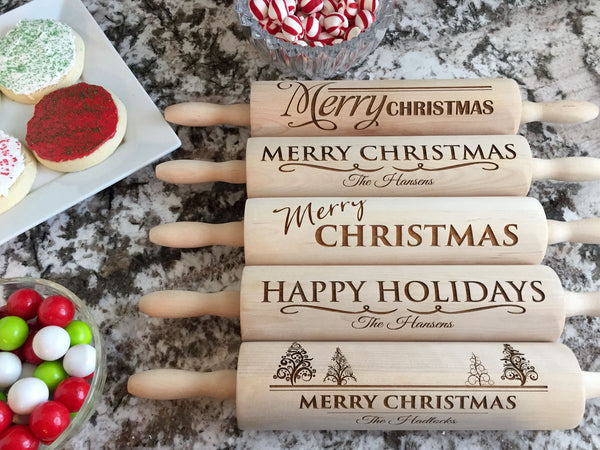 Personalized Christmas Rolling Pins - 5 Designs - Qualtry