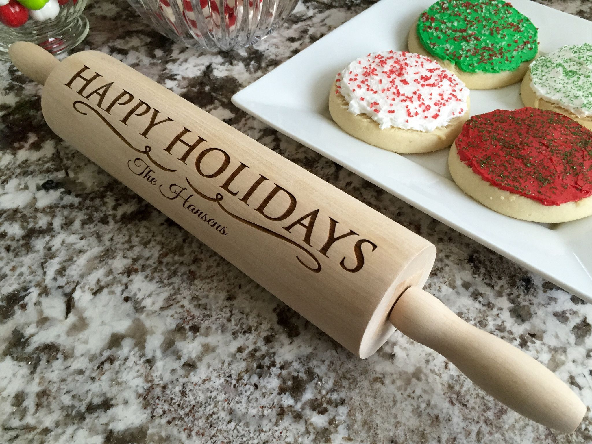 personalized christmas rolling pins 5 designs qualtry. Black Bedroom Furniture Sets. Home Design Ideas