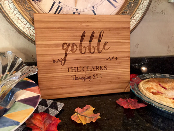 Personalized Thanksgiving 11x13 bamboo Cutting Boards - 3 Holiday Designs - Qualtry