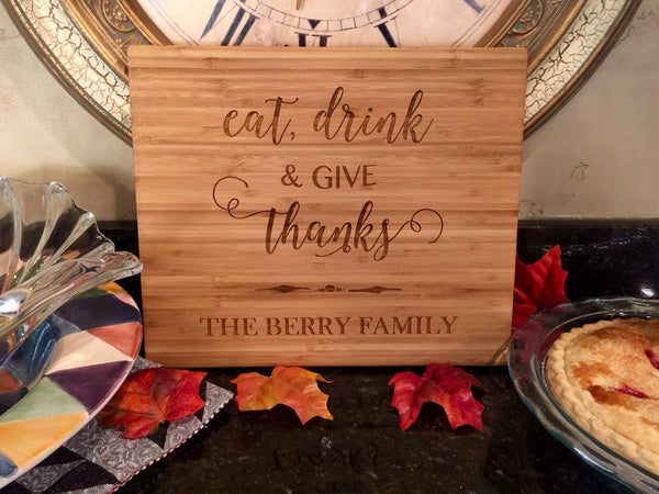 Personalized Thanksgiving 11x13 bamboo Cutting  Boards - 3 Holiday Designs