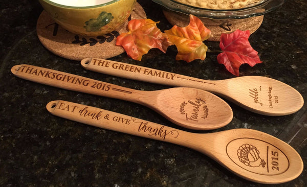 Personalized Decorative Thanksgiving Themed Wooden Spoons - 3 Amazing Designs
