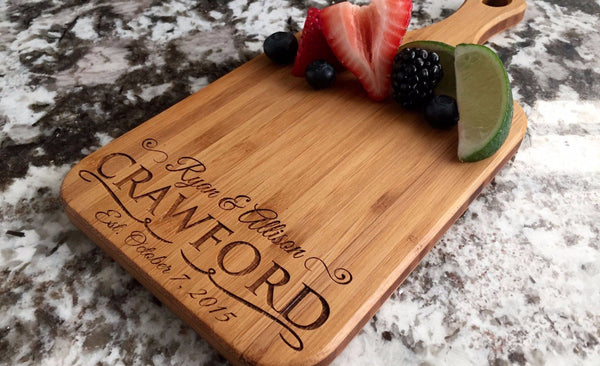 Personalized Handled Bamboo Serving Boards! 8 Amazing Designs! - Qualtry Personalized Gifts