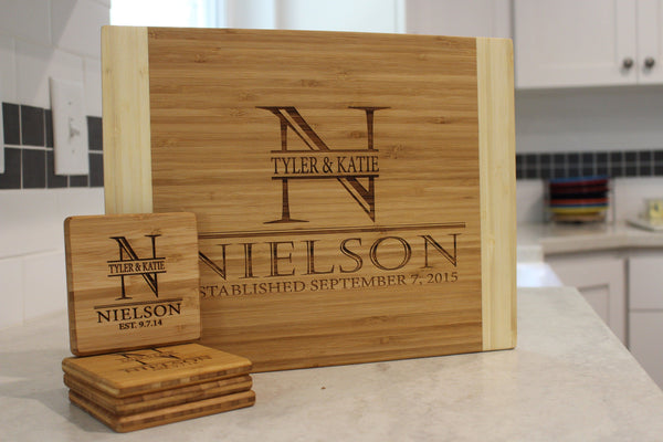 Corporate Holiday Collection - 11x14 Bamboo Cutting Board & Set of 4 Bamboo Coasters