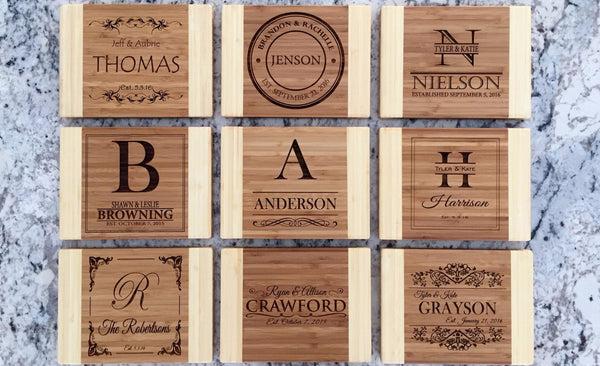 Personalized Cutting Board 6x8 (Two Tone) Bamboo - 13 Designs!