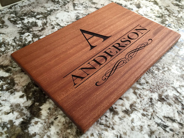 Personalized Beautiful Large Mahogany Cutting Board - 11 Designs - Qualtry