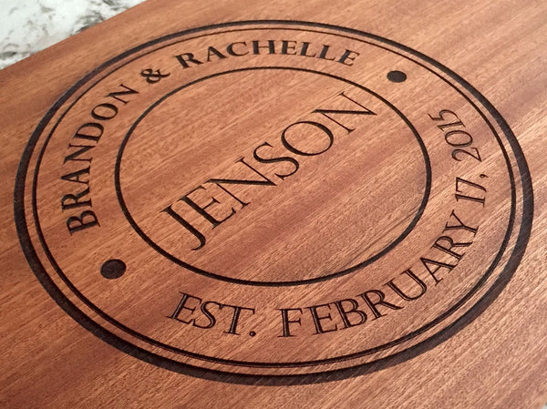 Park City Personalized Beautiful Large Mahogany Cutting Board