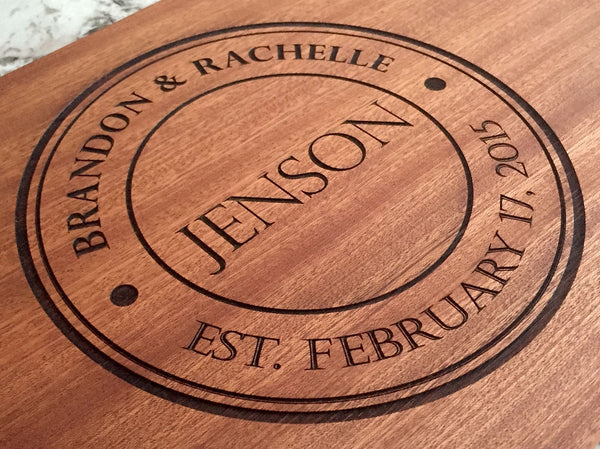 Personalized Beautiful Large Mahogany Cutting Board - 11 Designs - Qualtry Personalized Gifts