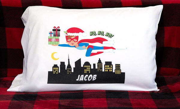Personalized Christmas Boy Superhero Pillowcases