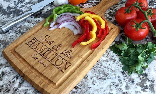 Personalized Large Handled Cutting board with Juice Grooves - Qualtry Personalized Gifts