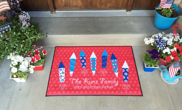 Personalized Large Patriotic Door Mats - Qualtry