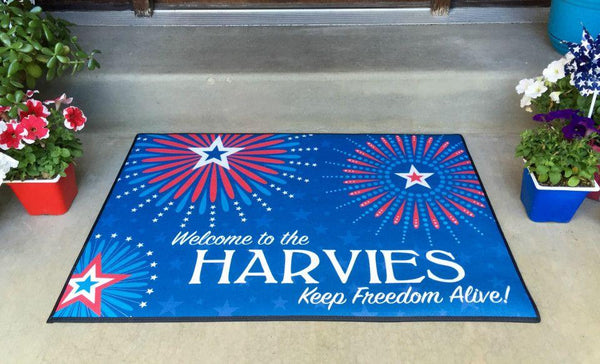 Personalized Large Patriotic Door Mats