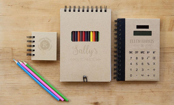 Personalized Notebook Bundle (Sticky Note, Sketch Pad, AND Calculator Notebooks!)