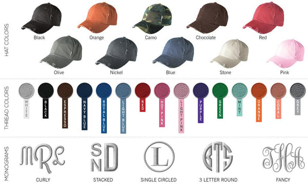 Monogrammed Distressed Caps