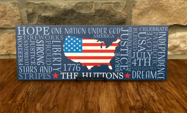 Personalized Patriotic Family Wall Signs - Qualtry