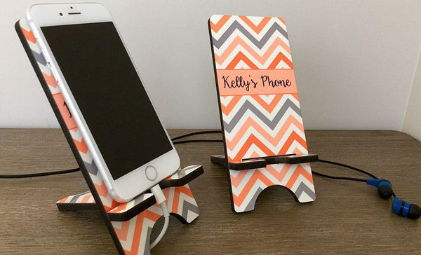 Personalized Cell Phone Stands - Chevron Pattern - Qualtry Personalized Gifts