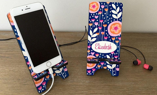 Personalized Cell Phone Stands - Flowers Pattern