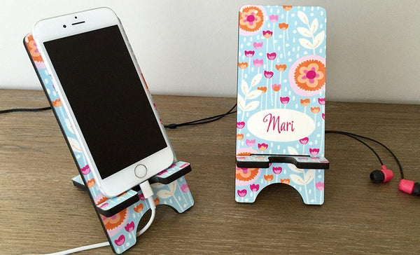 Personalized Cell Phone Stands - Flowers Pattern - Qualtry