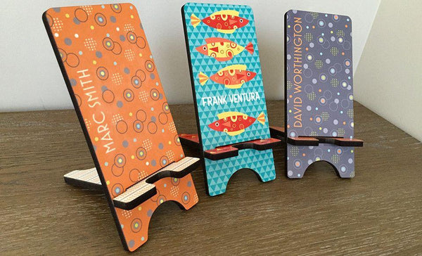 Personalized Cell Phone Stands - Aqua Pattern - Qualtry