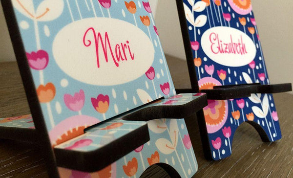 Personalized Cell Phone Stands - Flowers Pattern - Qualtry Personalized Gifts