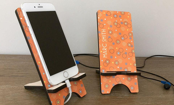 Personalized Cell Phone Stands - Aqua Pattern