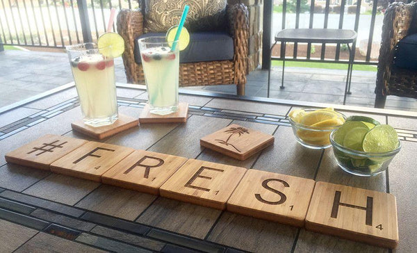 Personalized Thick Bamboo Coasters - Scrabble Letter - Qualtry Personalized Gifts