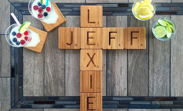 Personalized Thick Bamboo Coasters - Scrabble Letter
